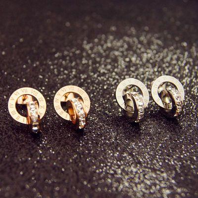 时尚罗马闪钻扣环玫瑰金女耳钉 潮人气质耳环不掉色饰品ins小香风