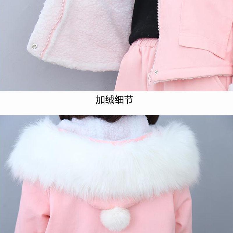 75636-秋冬季牛仔羊羔毛套装女网红学生休闲加绒加厚连帽外套时尚两件套-详情图
