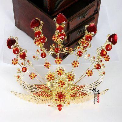 印月阁古装凤冠头饰古典饰品秀和服发饰皇后贵妃凤凰头冠金色凤冠
