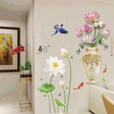 清新荷花墙贴画客厅卧室玄关装饰品唯美中国风花瓶壁纸可移除自粘