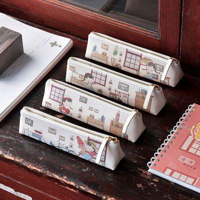 三年二班 麻球皮面笔袋韩版学生ins文具袋大容量初中生可爱文具盒