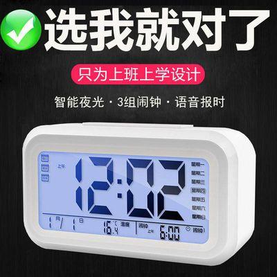 【送电池】多功能闹钟学生静音夜光时钟简约时尚卧室床头电子钟表