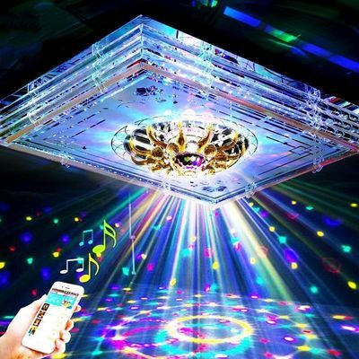 长方形客厅灯具大厅吸顶灯简约现代家用卧室led水晶灯饰蓝牙音乐