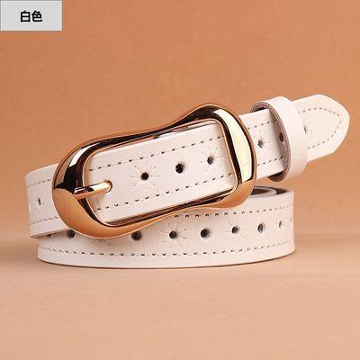 原创新品针扣镂空牛皮带女士时尚休闲牛仔裤腰带学生简约百搭韩版