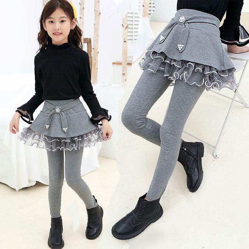 女童打底裤裙2020秋冬装儿童外穿裤子假两件加绒加厚裙裤女孩长裤