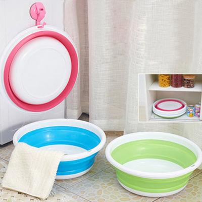 【可挂式折叠盆折叠桶】优质硅胶家用洗脸盆 户外水盆水桶钓鱼盆
