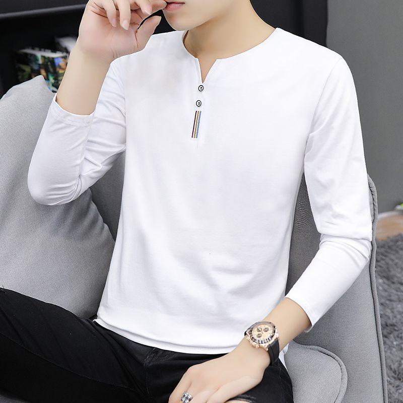 【95棉质量款】男士长袖t恤秋季男装体恤上衣服汗衫男V领打底衫【2月8日发完】