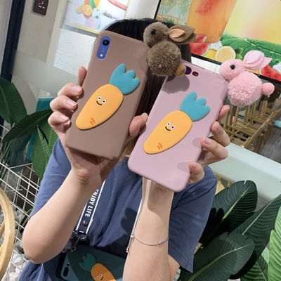 毛绒兔子oppor11s/r11/r9s/r9/plus卡通手机壳硅胶保护套斜跨绳女