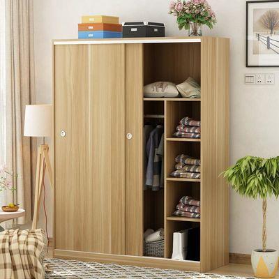 衣柜实木简易组装推拉滑移门出租房经济型儿童衣橱小卧室柜子定制
