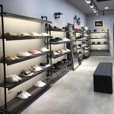 鞋店鞋架实体店展示架复古实木货架上墙包包架男女童鞋商场铺鞋架