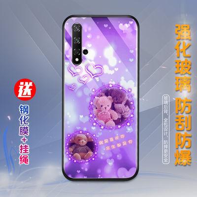 华为荣耀20s/play4t/x10手机壳女玻璃防摔保护套网红可爱男款潮牌