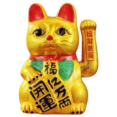 招财猫摆件店铺开业 陶瓷金色电动大号摇手招财猫收银台创意礼品