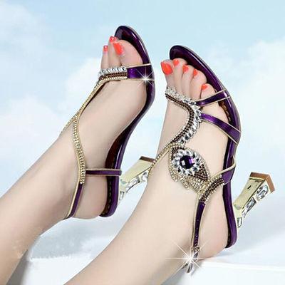 2020夏新款女凉鞋水钻性感高跟粗跟水晶镶钻33码仙女风网红女鞋子