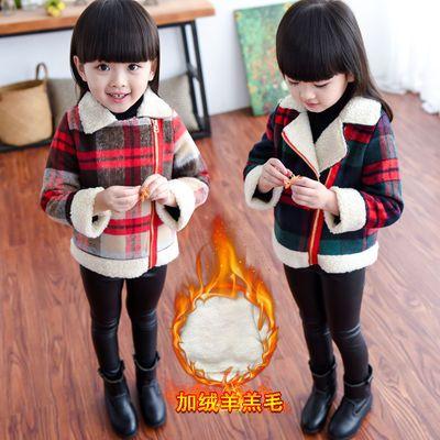 女童格子毛呢外套新款秋冬装加绒上衣短款童装女童装冬装