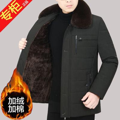 加绒加厚冬季中年男士棉服中老年人男装棉衣爸爸外套上衣保暖棉袄