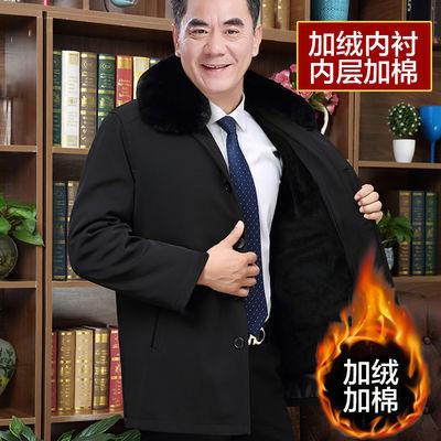 冬季加绒加厚中年男士棉服中老年人男装棉衣爸爸外套上衣保暖棉袄