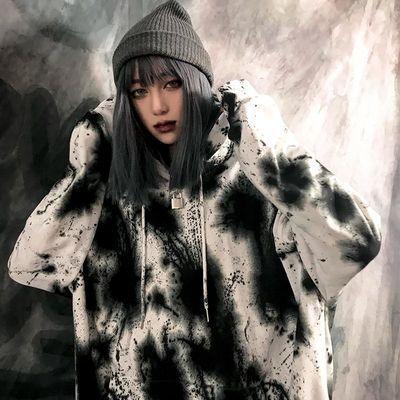 秋冬新款韩版摇滚泼墨加绒加厚宽松长袖连帽外套扎染ins卫衣上衣
