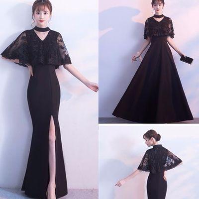 黑色晚礼服裙女2020新款长款高贵端庄大气显瘦宴会学生派对连衣裙