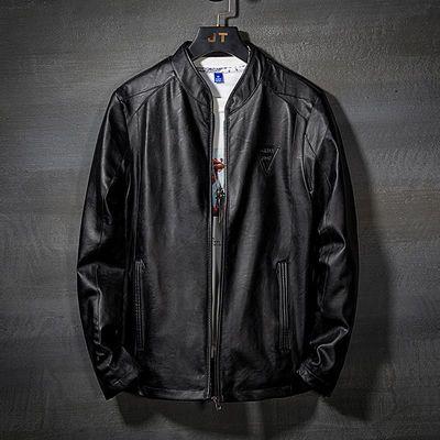 皮衣男春秋新款韩版潮流修身帅气青年机车皮夹克男士冬季加绒外套