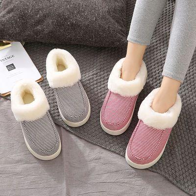 冬季新款家居家用室内包跟棉拖鞋女可爱厚底防滑卡通情侣棉拖鞋男