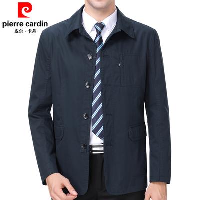 皮尔卡丹春秋季中年男士商务休闲翻领男装夹克中老年父亲纯棉外套