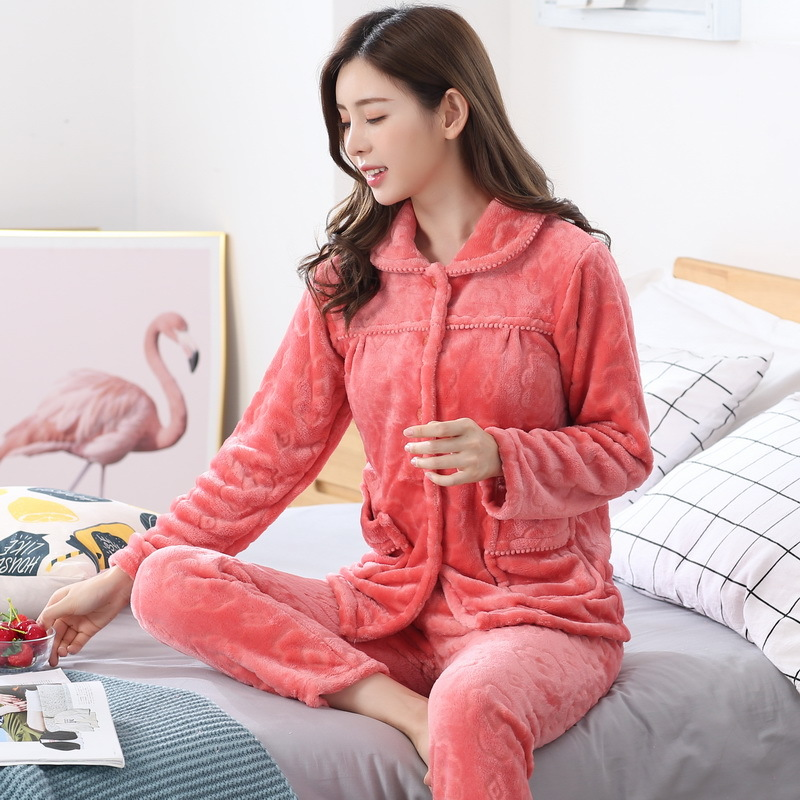 加厚秋冬季法兰绒睡衣女套装珊瑚绒青年中老年妈妈睡衣长袖家居服