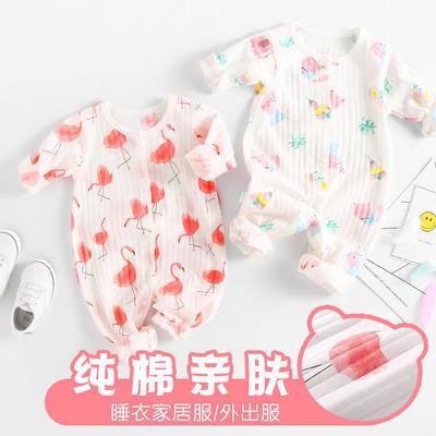 婴儿保暖衣连体衣服01-2岁男女宝宝春秋冬季夹棉内衣睡衣哈衣爬服