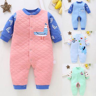 婴儿夹棉保暖连体衣纯棉套装男女童宝宝棉服薄棉加棉秋冬0-3个6月