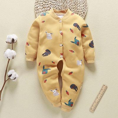 婴儿秋冬加厚保暖连体哈衣新生男女儿童爬服宝宝纯棉睡衣外出套装