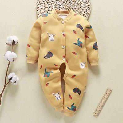 新款春秋冬季新生儿婴儿开裆连体包脚保暖哈衣夹棉长袖宝宝连体裤