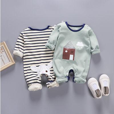 艾洛迪新生婴儿连体衣保暖秋衣长袖宝宝衣服秋季纯棉哈衣睡袋秋冬
