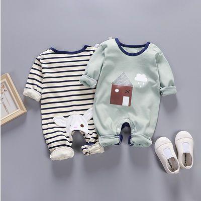 新生儿纯棉哈衣婴儿保暖内衣加厚冬季连体衣宝宝秋衣3个月秋冬装