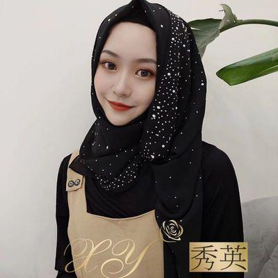 穆斯林纱巾新款时尚休闲烫瓷长巾回族女简便马来雪纺头巾盖头围巾