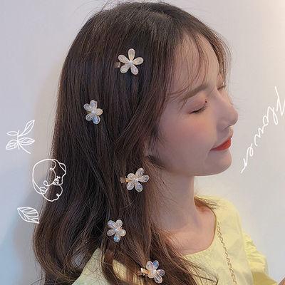 韩国少女发饰水晶小花朵鸭嘴夹发夹女发卡网红甜美头饰边夹刘海夹