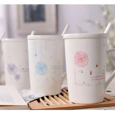 创意蒲公英陶瓷杯子带盖勺咖啡牛奶茶杯马克水杯情侣男女学生韩【2月25日发完】