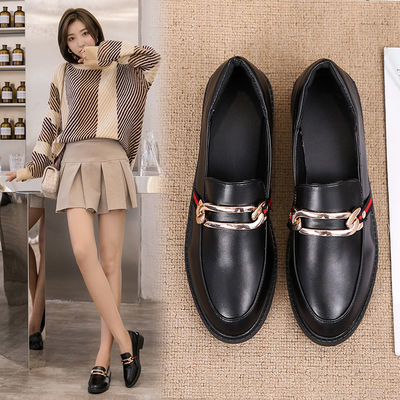 春夏季英伦风复古小皮鞋女鞋2020新款韩版中跟百搭黑色学生单鞋女