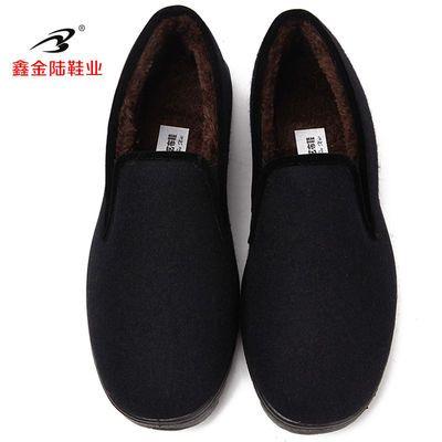 秋冬新款毛呢二棉鞋加毛中老年男女同款一脚蹬爸爸保暖鞋防滑软底