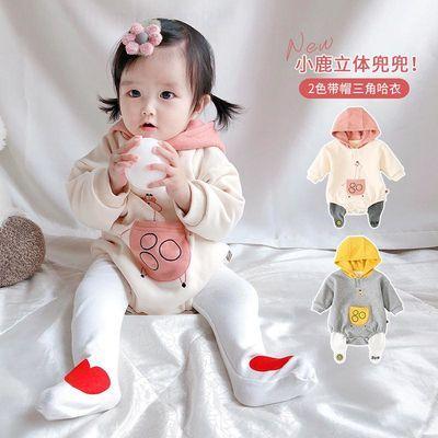 韩国秋冬季婴儿保暖加绒连体哈衣男女宝宝包屁衣爬服卫衣连体衣潮