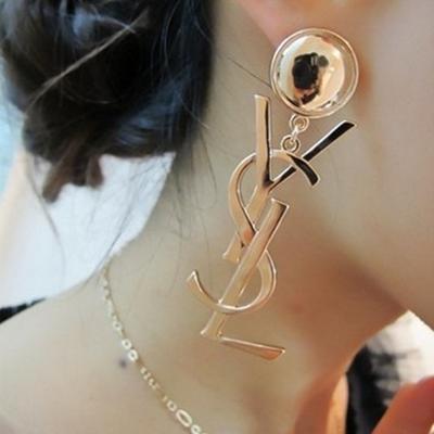 银针欧美流行夸张个性气质英文字母长款耳环女时尚百搭网红耳钉