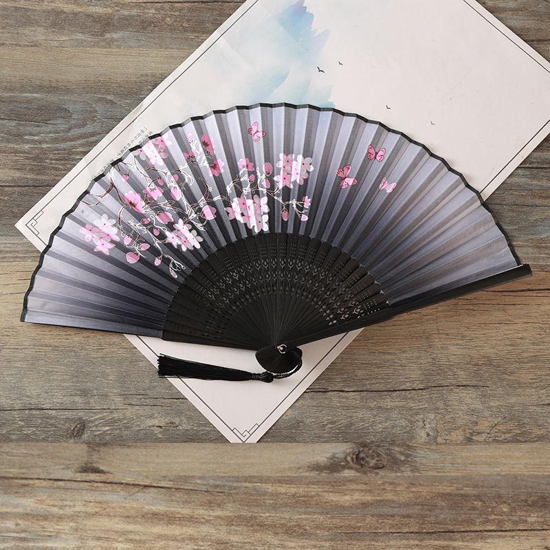 Chinese Blank Silk Folding Hand Fan Calligraphy Writing Dancing Wedding Gift