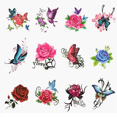 【女人款】纹身贴防水持久女玫瑰花朵蝴蝶小清新个性遮疤贴纸