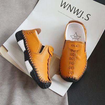 儿童皮鞋休闲鞋2018秋冬新款男童豆豆鞋单鞋软底学生鞋童鞋小童潮