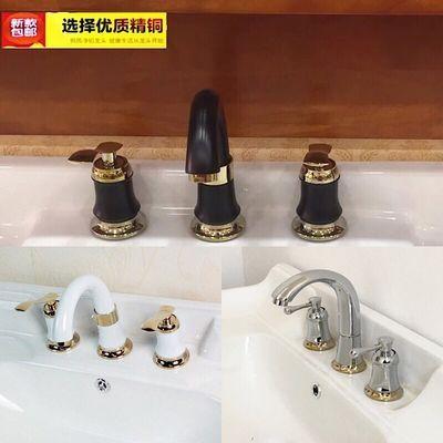 欧式 双把三孔分体面盆水龙头冷热全铜 卫浴洗脸盆台盆龙头三件套