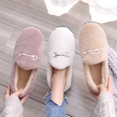 新款毛毛鞋女冬季外穿平底棉拖鞋百搭包跟加绒防滑一脚蹬豆豆鞋女