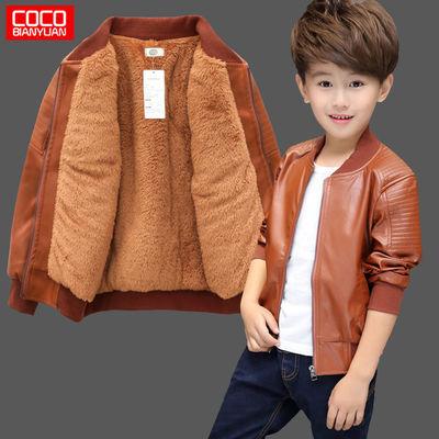 男童皮衣外套2019新款韩版秋冬装中小儿童装男孩洋气加厚皮夹克潮