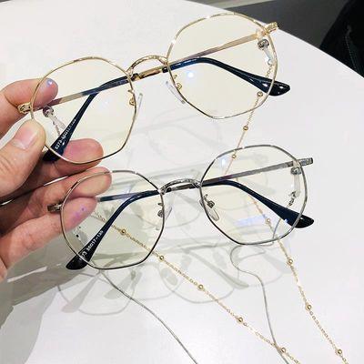 辐射蓝光带链条眼睛架网红款男女近视眼镜框韩版多边形素颜圆脸防