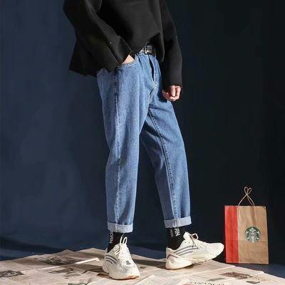 牛仔裤男秋季常规直筒宽松潮牌九分裤男简约百搭韩版潮流阔腿裤子