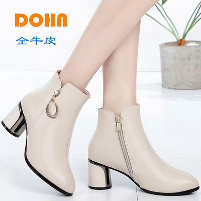 DOHN真皮女鞋子女英伦风马丁靴秋冬季高跟靴子女士短靴时尚妈妈鞋