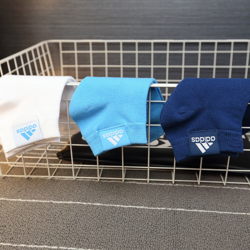 阿迪达斯男女运动袜子纯棉中筒短袜秋冬季厚款包邮防臭吸汗三双装