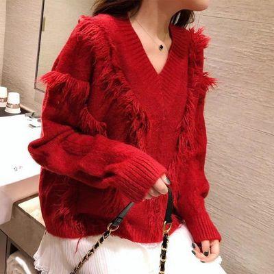2019秋冬新款很仙的红色毛衣女宽松流苏慵懒风V领百搭针织衫上衣
